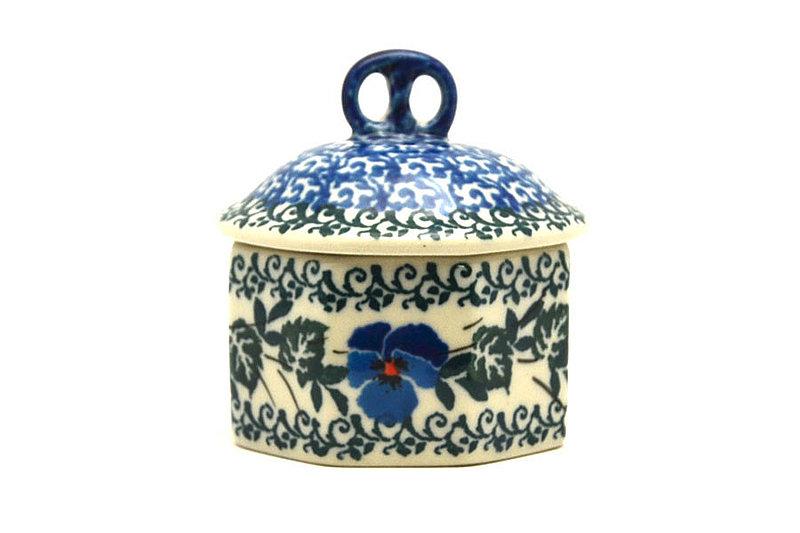 Ceramika Artystyczna Polish Pottery Trinket Box - Winter Viola 110-2273a (Ceramika Artystyczna)
