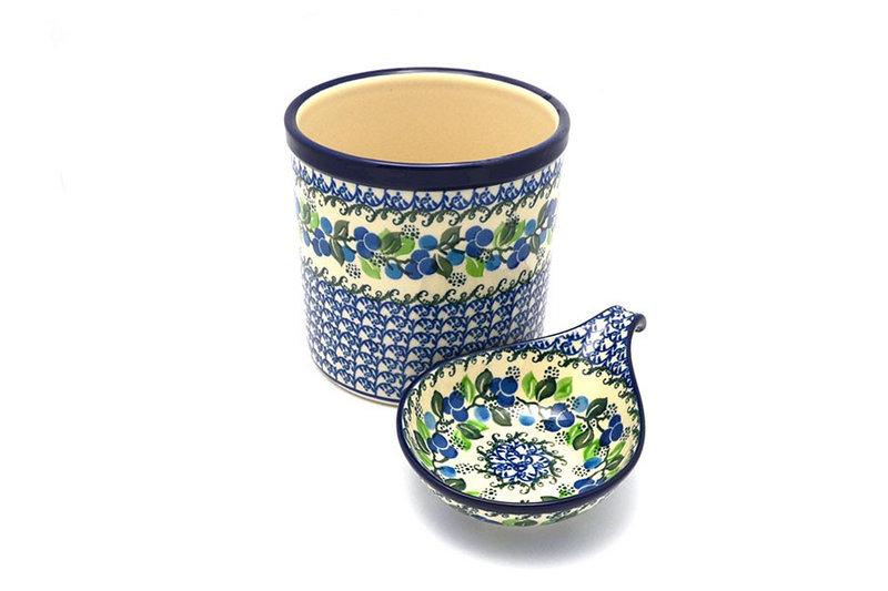 Ceramika Artystyczna Polish Pottery Utensil Holder Set - Blue Berries S00-1416a (Ceramika Artystyczna)