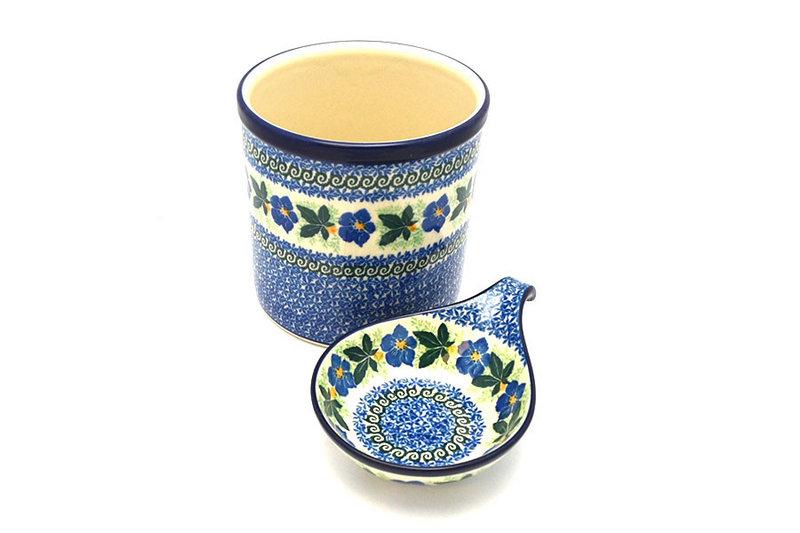 Ceramika Artystyczna Polish Pottery Utensil Holder Set - Blue Pansy S00-1552a (Ceramika Artystyczna)