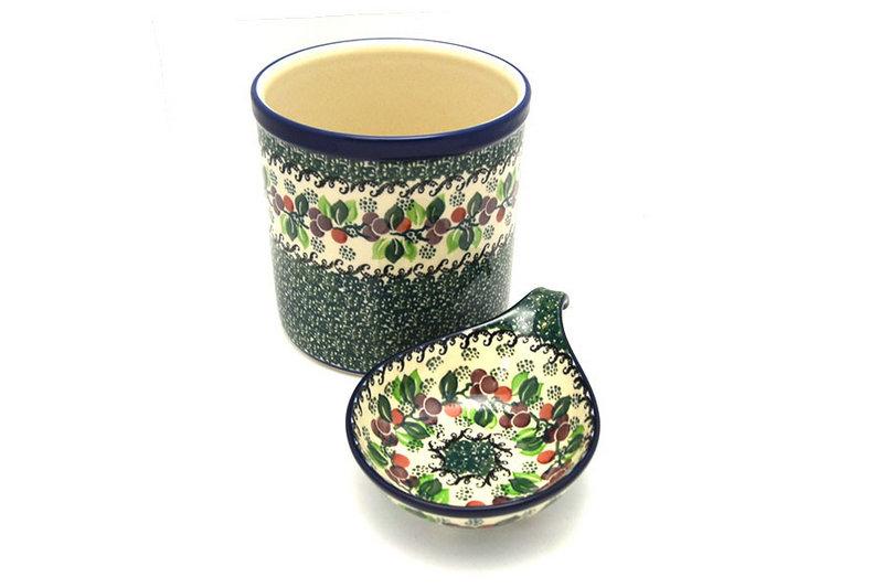 Ceramika Artystyczna Polish Pottery Utensil Holder Set - Burgundy Berry Green S00-1415a (Ceramika Artystyczna)