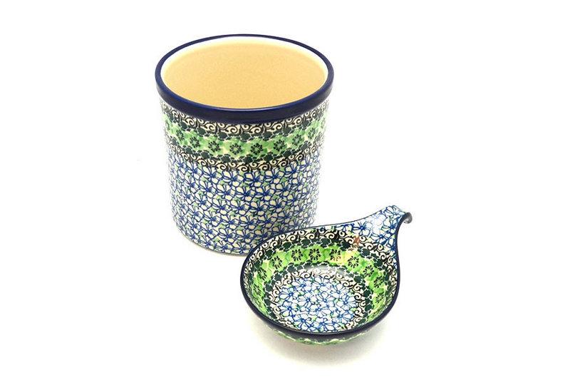 Ceramika Artystyczna Polish Pottery Utensil Holder Set - Kiwi S00-1479a (Ceramika Artystyczna)