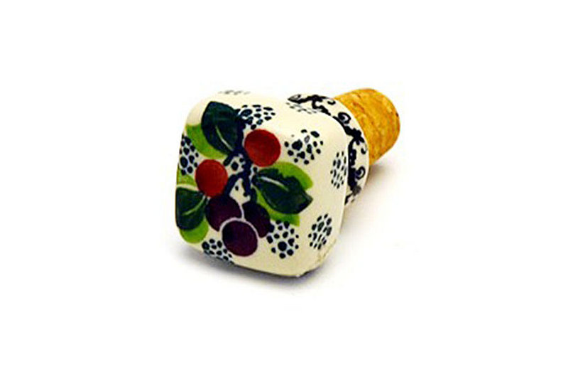 Ceramika Artystyczna Polish Pottery Wine Stopper - Burgundy Berry Green 832-1415a (Ceramika Artystyczna)