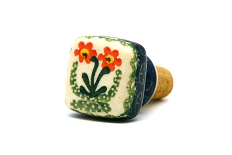 Ceramika Artystyczna Polish Pottery Wine Stopper - Peach Spring Daisy 832-560a (Ceramika Artystyczna)
