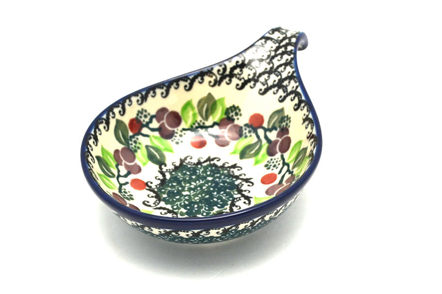 Polish Pottery Spoon Ladle Rest Burgundy Berry Green 174 1415a