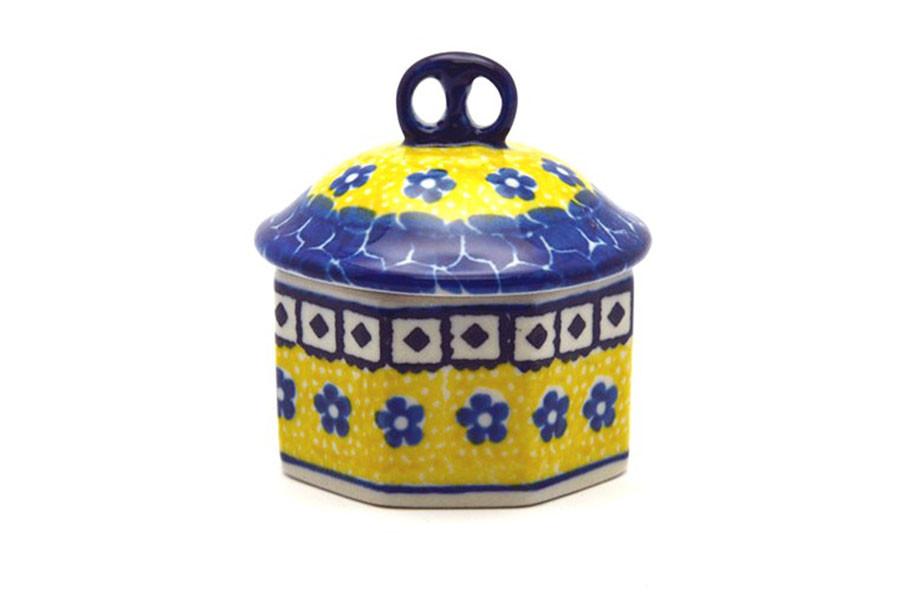 Polish Pottery Sugar Bowl Sunburst