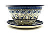 Ceramika Artystyczna Polish Pottery Berry Bowl with Saucer - Silver Lace