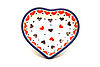 Ceramika Artystyczna Polish Pottery Tea Bag Holder - Heart - Love Struck