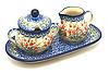 Ceramika Artystyczna Polish Pottery Cream & Sugar Set - Crimson Bells