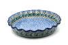 Ceramika Artystyczna Polish Pottery Baker - Pie Dish - Fluted - Peacock Feather