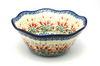"Ceramika Artystyczna Polish Pottery Bowl - Curvy Edge - 8"" - Crimson Bells"