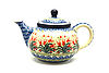 Ceramika Artystyczna Polish Pottery Teapot - 3/4 qt. - Crimson Bells