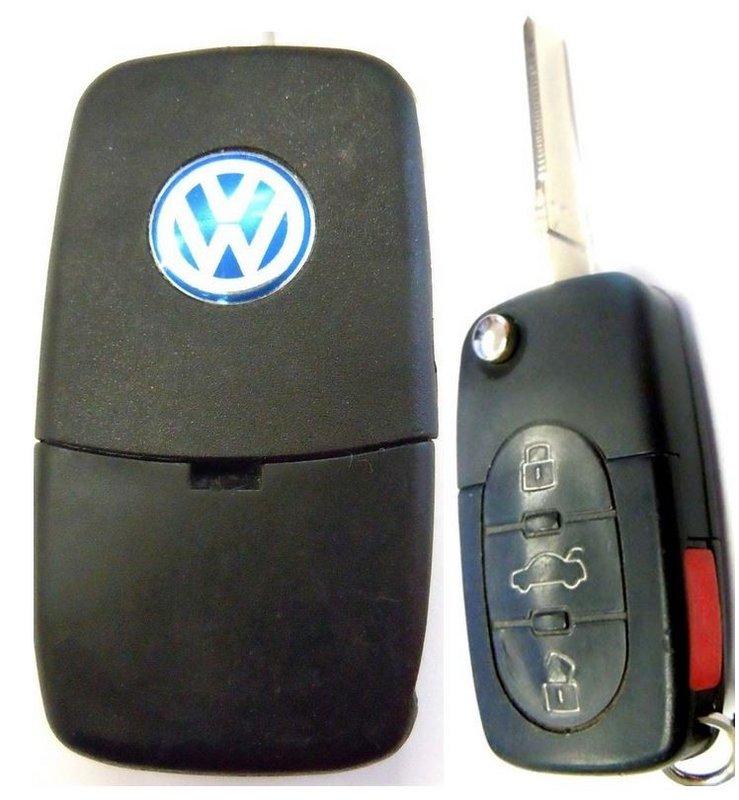 vw volkswagen jetta keyless entry remote flip key fob pre owned wid  key