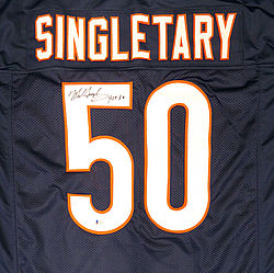 Chicago Bears Mike Singletary Autographed Signed Blue Jersey HOF 98 -  Beckett Authentic baca0218d