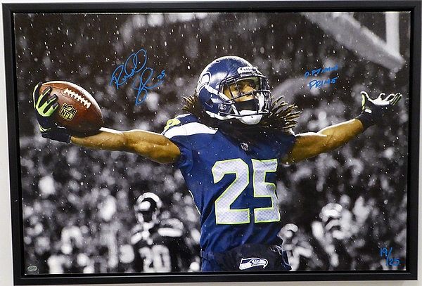 25 30 Seattle: Richard Sherman Autographed Signed Framed 20x30 Canvas
