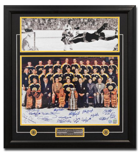 1970 Boston Bruins Stanley Cup 16 Player Team Autographed Signed Bobby Orr Goal 27x29 Frame