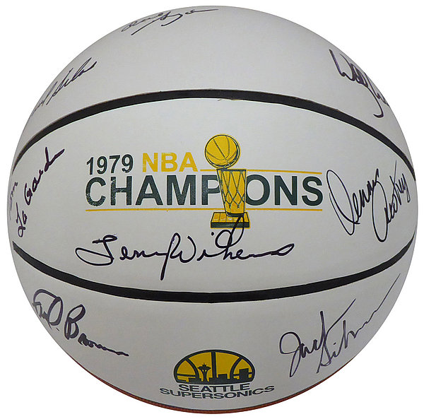 560c8e3cbf0 1978-79 NBA Champions Seattle Supersonics Autographed Signed Basketball  With 8 Signatures Including Fred Brown