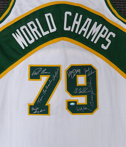 3045136ff8e 1978-79 NBA Champions Seattle Supersonics Multi Signed Autographed Signed  White Jersey With 9 Signatures