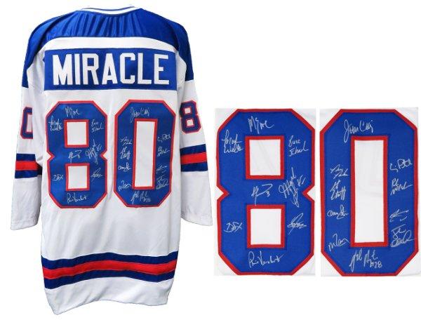 1980 USA Hockey 'Miracle On Ice' Team Autographed Signed USA White Custom #80 Throwback Hockey Jersey (18 - Sigs)