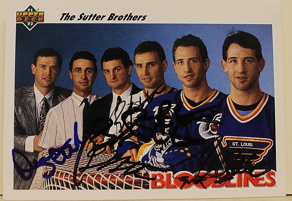 1991-92 Upper Deck Card Autographed Signed by 5 of the 6 Sutter Brothers - COA Included