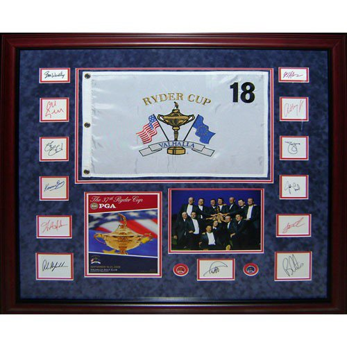 2008 Ryder Cup Team USA Autographed Signed Deluxe Framed Piece with Flag, Program, Photo - Azinger and 12 Team Member Signatures