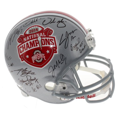 8e15867e463 2014 Ohio State Buckeyes Team Autographed Signed 2014 National Championship  Commemorative Silver Full Size Replica Helmet - with Urban Meyer - Fanatics  ...