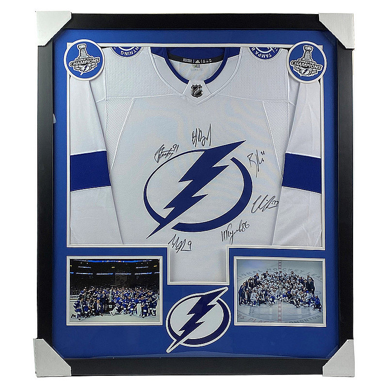 2020 Tampa Bay Lightning Championship Team Autographed Signed Deluxe Framed Jersey - Certified Authentic