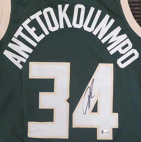 newest faca5 373ee Milwaukee Bucks Giannis Antetokounmpo Autographed Signed ...