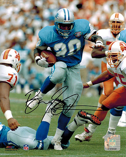 2be8de791b1 Barry Sanders Autographed Signed Lions Blue Jersey Action 8x10 Photo ...