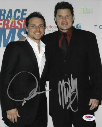 98 Degrees Autographed Signed Drew & Nick Lachey Dual 8X10 Photo Autographed PSA/DNA COA Degrees