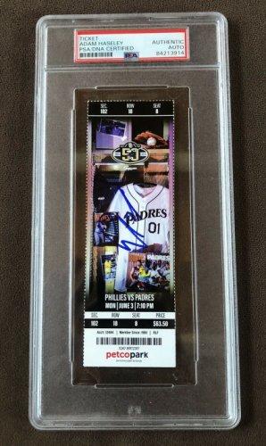 Adam Haseley Autographed Signed MLB Debut Mint Ticket Stub Phillies Padres 6/04/19 PSA COA