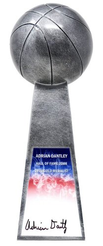 Adrian Dantley Autographed Signed Basketball Champion 14 Inch Replica Silver Trophy