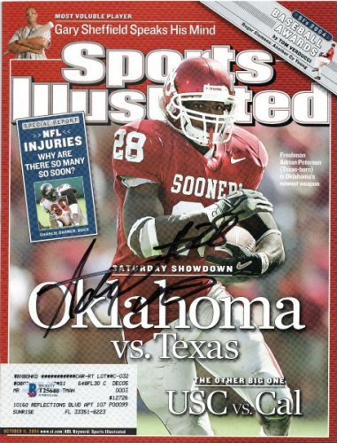 Adrian Peterson Autographed Signed Oklahoma Sooners Sports Illustrated 10/11/04 Beckett Authenticated