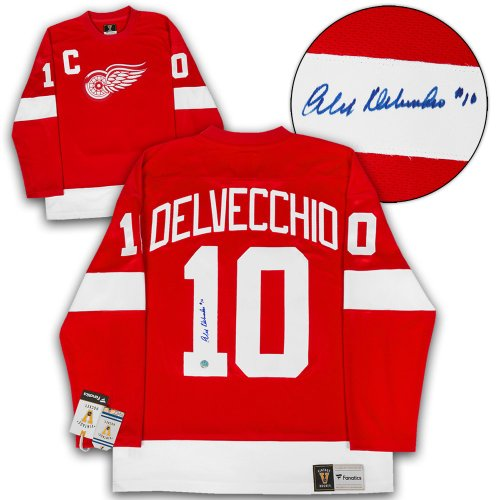 81c2e950c Alex Delvecchio Detroit Red Wings Autographed Signed Retro Fanatics Hockey  Jersey