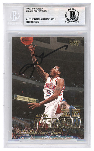 6bdc0698cdf Allen Iverson Autographed Signed 1997-98 Fleer Card #3 Philadelphia 76ers -  Beckett Authentic