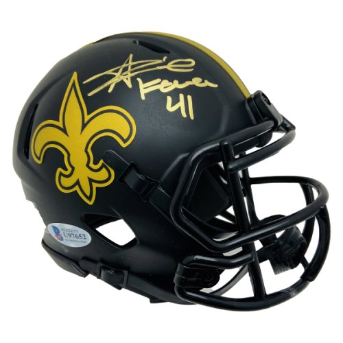 Alvin Kamara Autographed New Orleans Saints Eclipse Riddell Speed Mini Helmet #41 Inscription Signed in Gold - Beckett Authentic