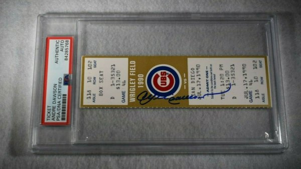 Andre Dawson Autographed Signed 1990 Original Game Ticket-Cubs Vs Padres-PSA