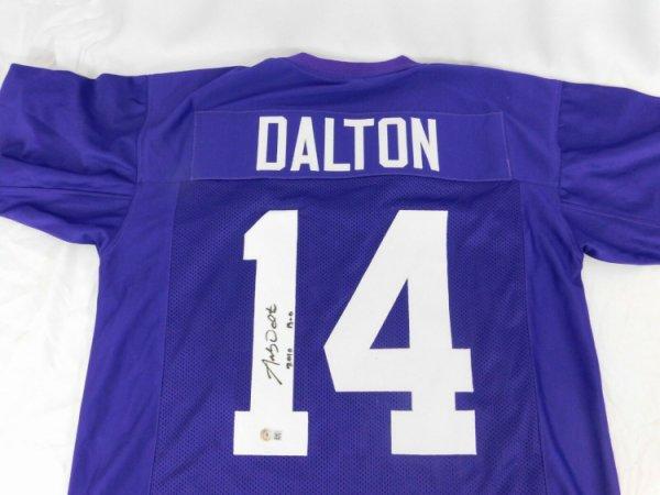 Andy Dalton Autographed Signed Purple Custom Jersey Xl Beckett COA Stitched Bengal Bears Tcu