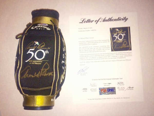 Arnold Palmer Autographed Signed /Auto Mini Golf Bag 50Th Anniversary At The Masters PSA/DNA