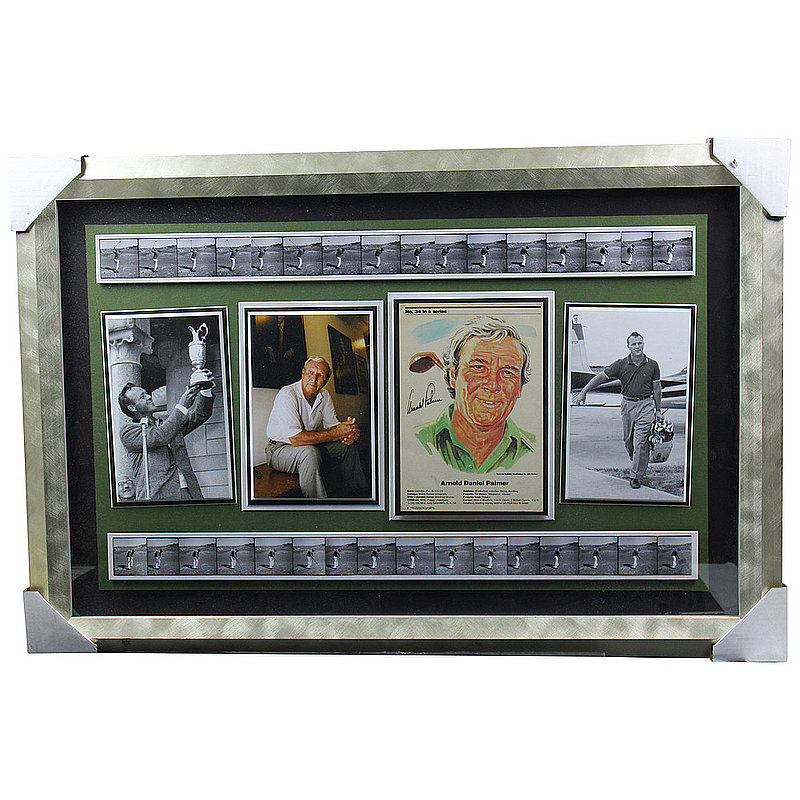 Arnold Palmer Autographed Signed Swing Reel with 4 Photos Shadow Box 26x38 - PSA/DNA Authentic