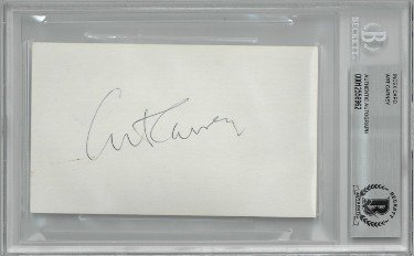 Art Carney Autographed Signed 3x5 Index Card- Beckett/BAS Encapsulated (The Honeymooners/Harry and Tonto/Academy Awards)