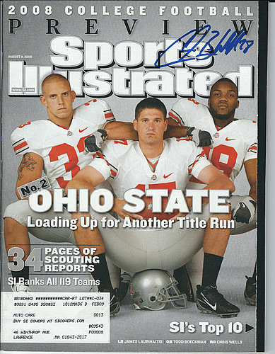 Autographed Signed Chris Beanie Wells Ohio State Sports Illustrated Magazine 8/11/08 - Certified Authentic