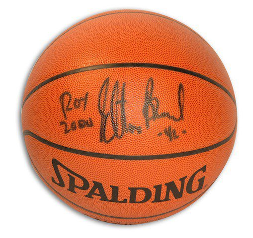 Autographed Signed Elton Brand Outdoor Spalding Basketball Inscribed ROY 2000