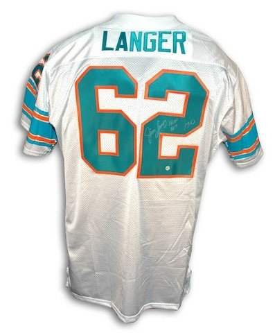 Autographed Signed Jim Langer Miami Dolphins Throwback White Jersey Inscribed HOF 87 and 17-0 - COA Included