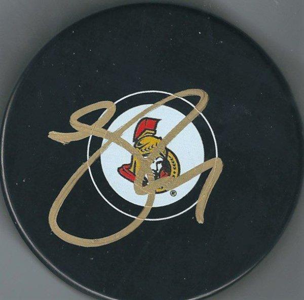 Autographed Signed Johnny Oduya Ottawa Senators Hockey Puck