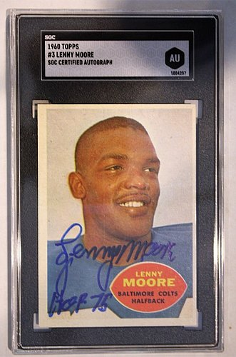 Autographed Signed Lenny Moore 1960 Topps Card #3 Sgc Slabbed - Certified Authentic