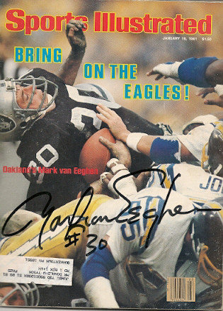 Autographed Signed Mark Van Eeghen Sports Illustrated - Certified Authentic