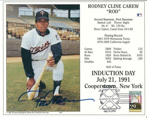 Rod Carew Autographed Minnesota Twins Full Size Baseball Batting