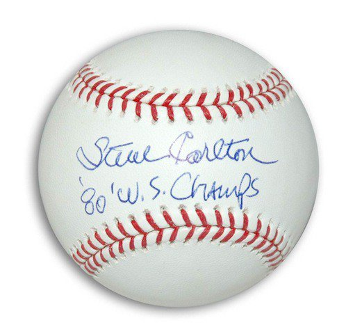 Autographed Signed Steve Carlton MLB Baseball inscribed 80 WS Champs