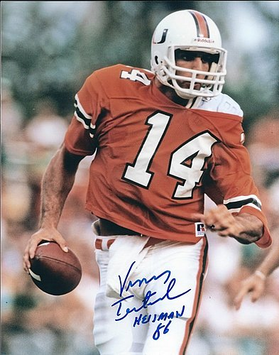 Autographed Signed Vinny Testaverde 8x10 University Of Miami Photo - Certified Authentic