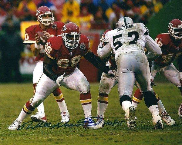 JSA W Auth Will Shields Signed Kansas City 8x10 Three Point Stance Photo W// HOF